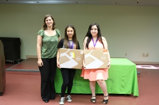 With the Library Director and laptop prizes for perfect attendance.