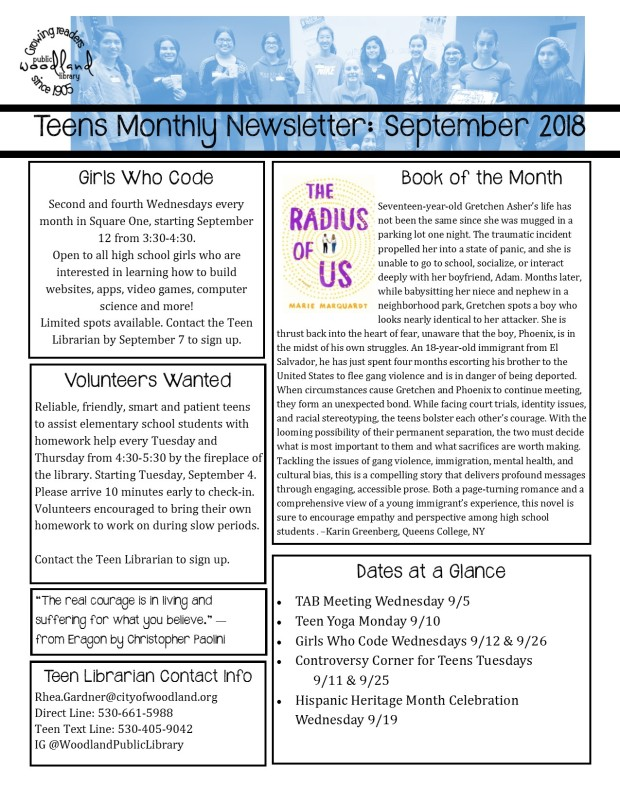 Teen Monthly Newsletter September 2018 page 2