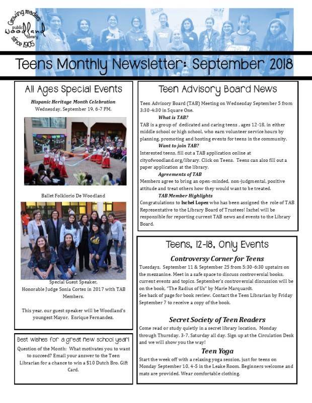 Teen Monthly Newsletter September 2018