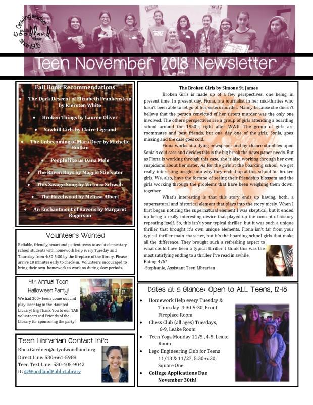 Teen November 2018 Newsletter for Print 2