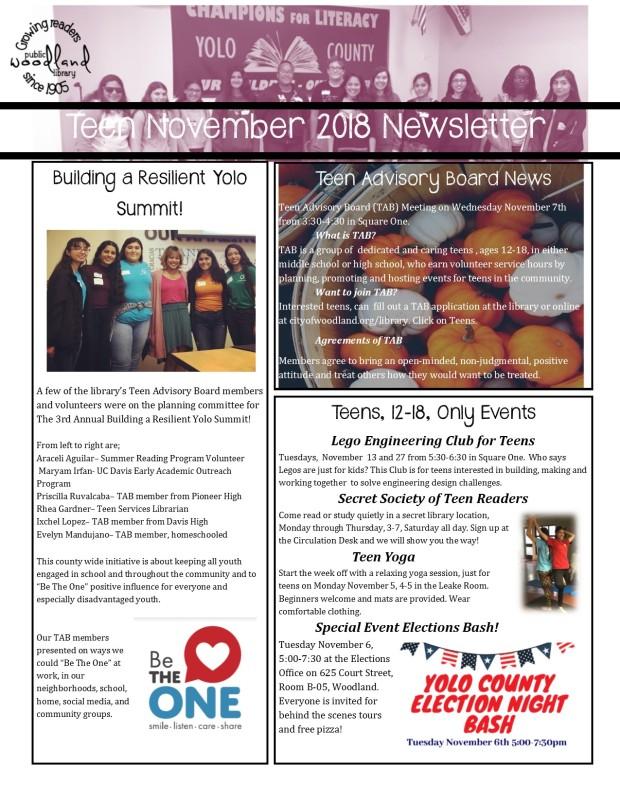 Teen November 2018 Newsletter for Print